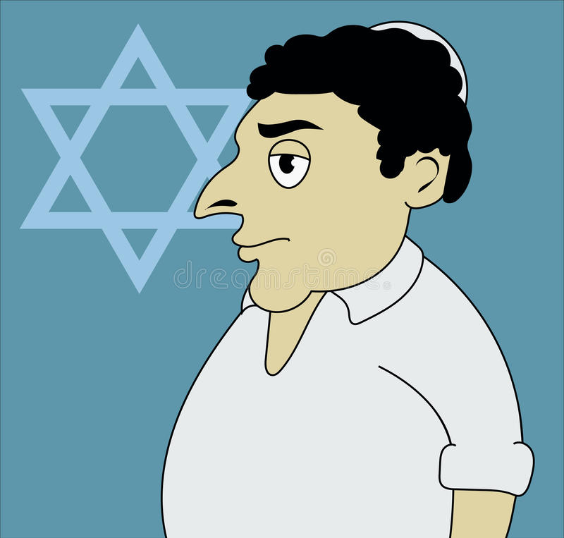 A vector illustration of Jewish man. Wearing bale stock illustration