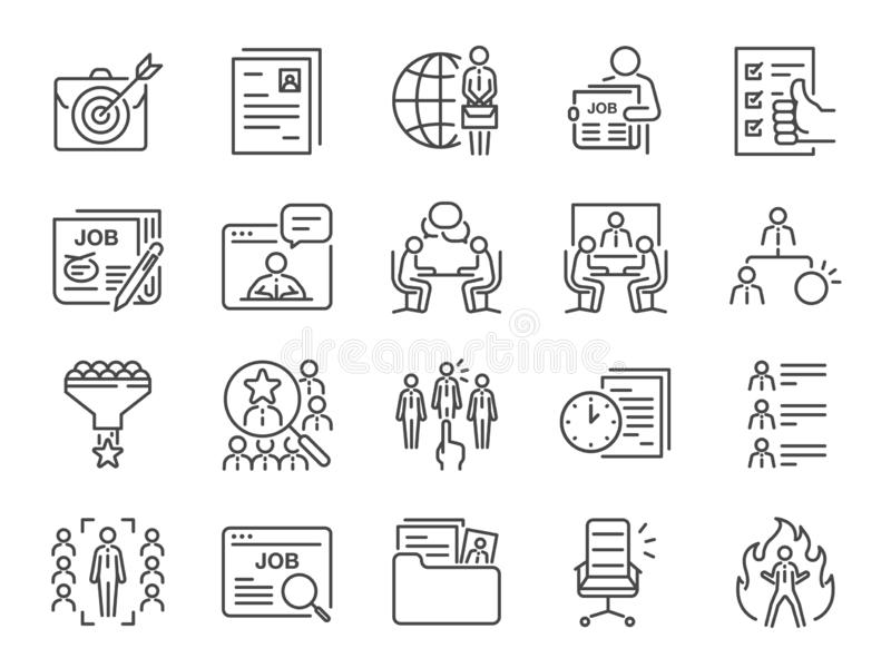 Jobs line icon set. Included icons as career, seeking job, employment, recruit, recruitment and more. stock illustration