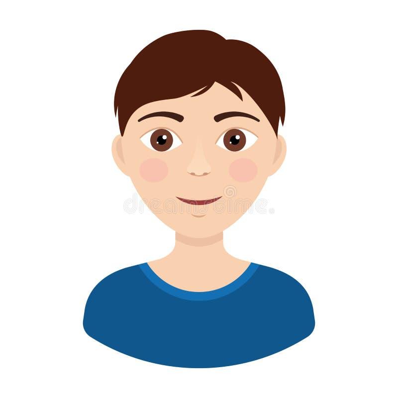 Vector illustration of junior glad boy isolated on white. Background vector illustration