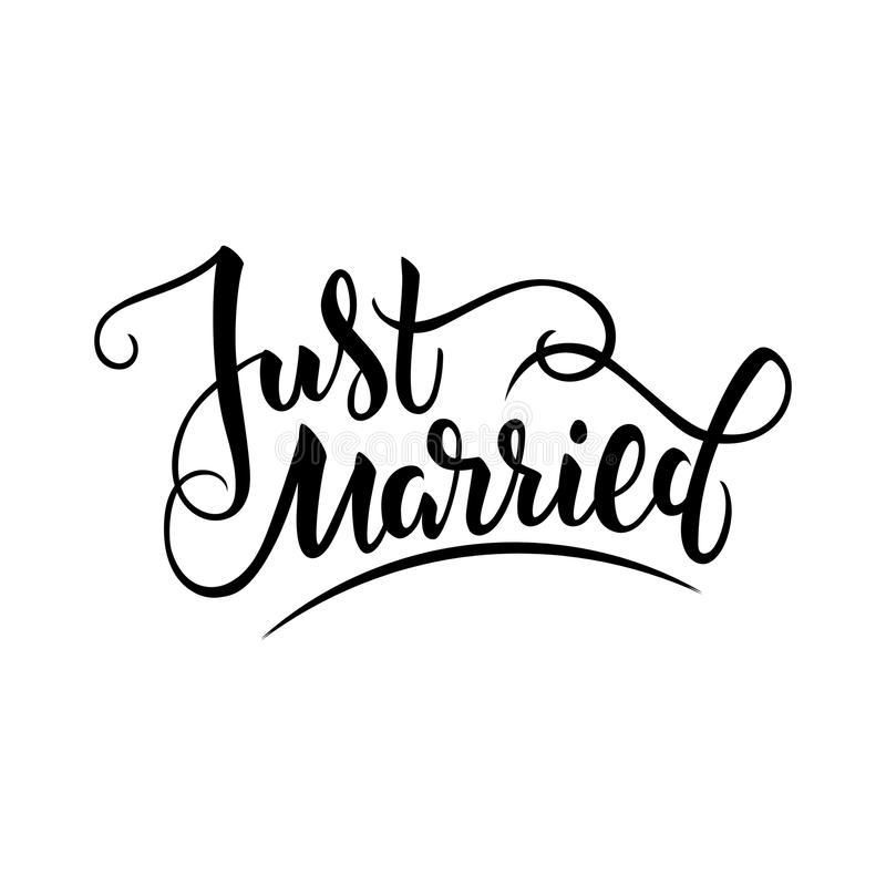 Vector Illustration Of Just Married Text With Background