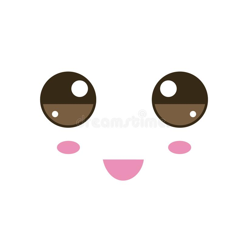 Vector illustration with kawaii faces. Vector illustration with kawaii face in flat style royalty free illustration