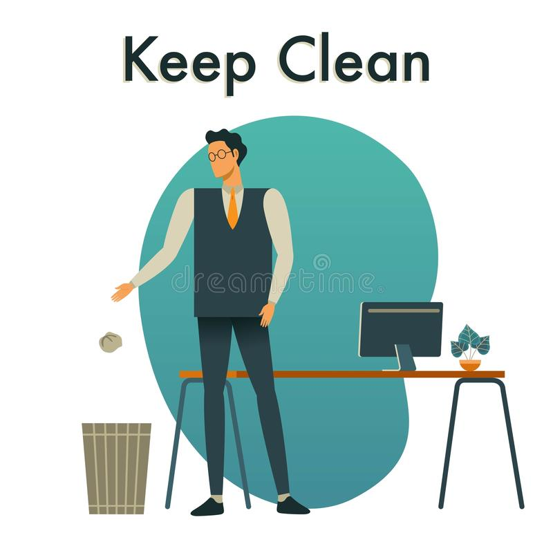Vector illustration of Keep Our Workplace Clean. stock illustration
