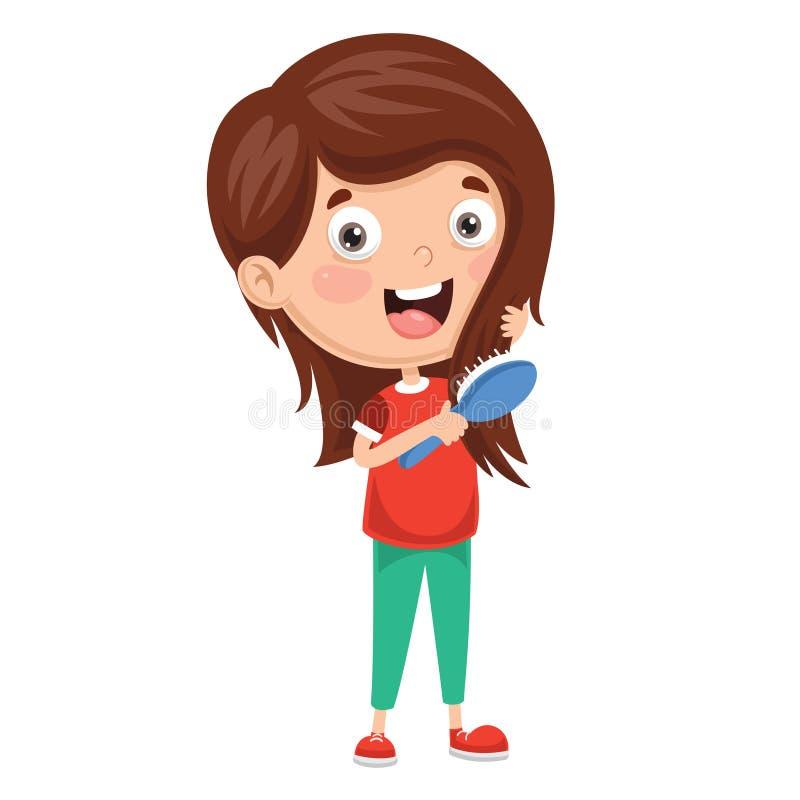 Vector Illustration Of Kid Brushing Hair stock illustration