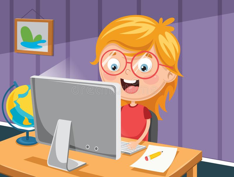 Vector Illustration Of Kid With Computer. Eps 10 stock illustration