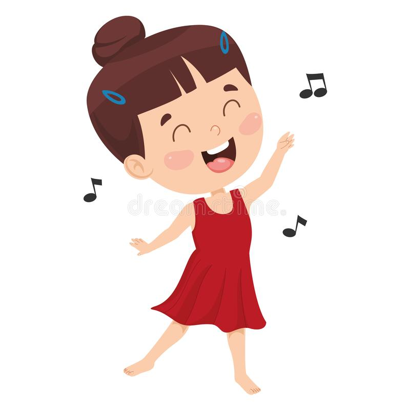Vector Illustration Of Kid Dancing stock illustration