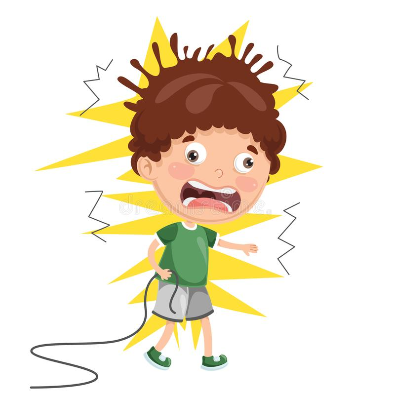 Vector Illustration Of Kid With Electric Shock vector illustration