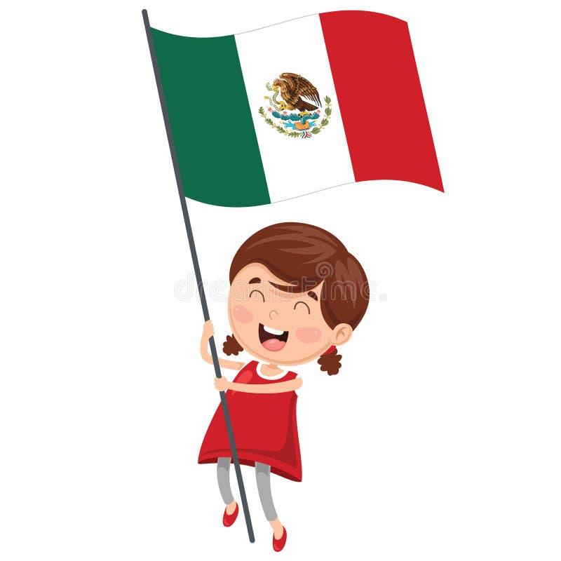 Vector Illustration Of Kid Holding Flag royalty free illustration