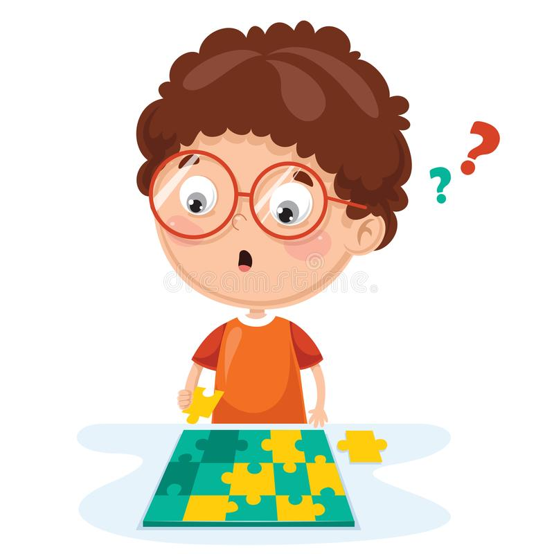 Vector Illustration Of Kid Playing Puzzle royalty free illustration