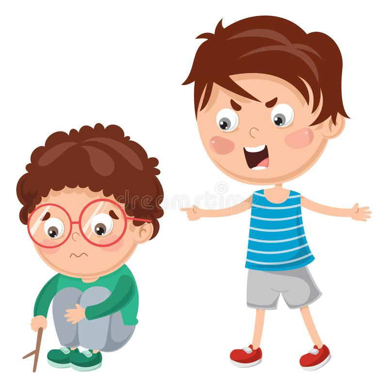 Vector Illustration Of Kid Shouting His Friend vector illustration