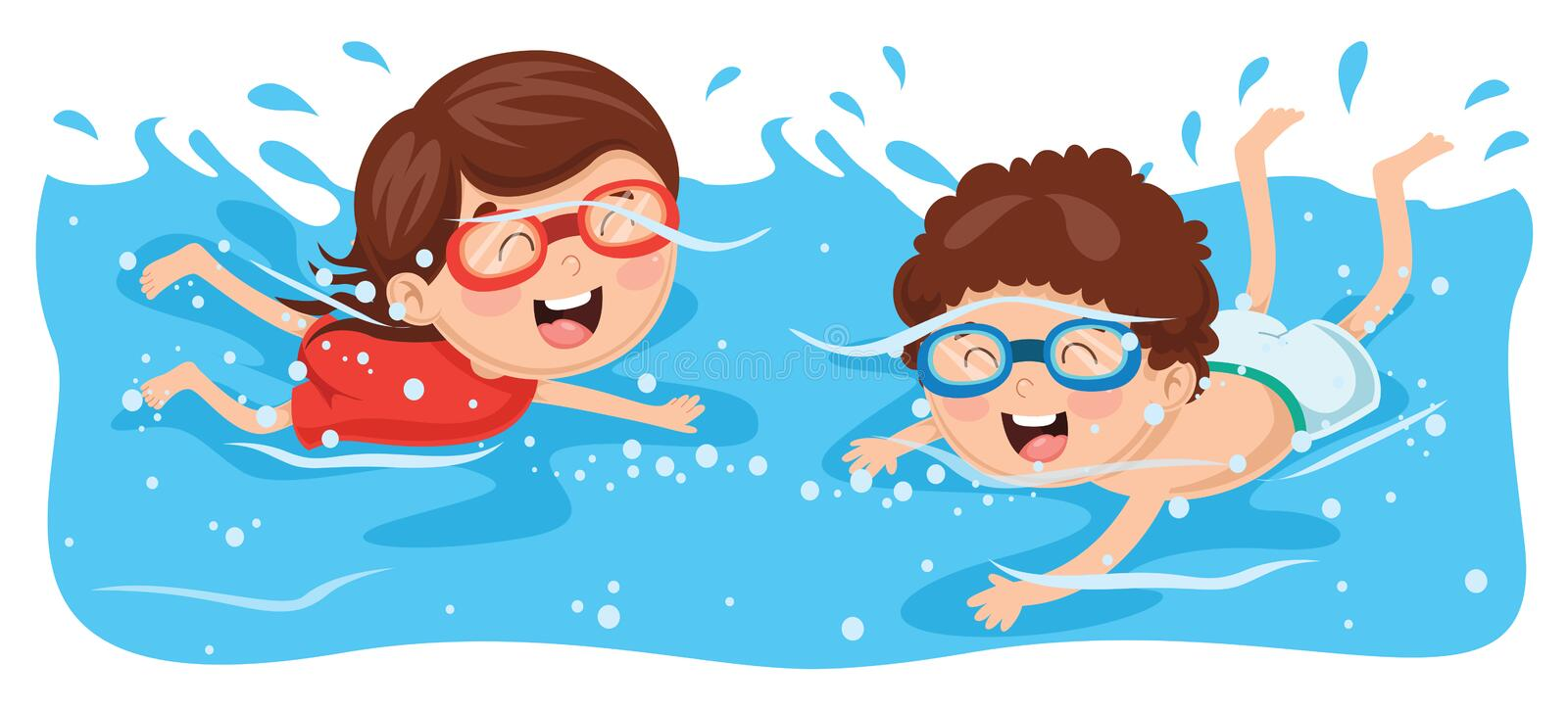 vector illustration of kid swimming stock illustration rh dreamstime com Competitive Swimming Clip Art Swimming Silhouette