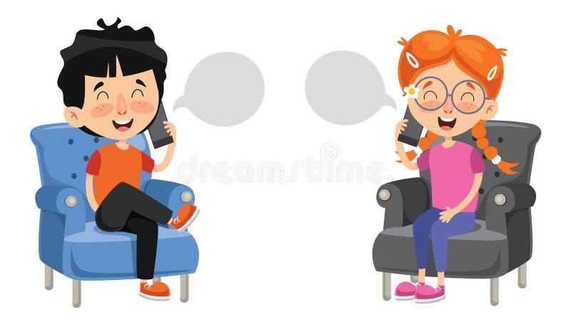 Vector Illustration Of Kid Talking On Phone stock illustration