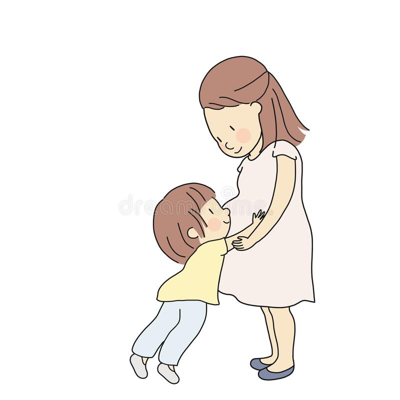 Vector illustration of kid touching, hugging and feeling new baby in pregnant mom belly. Parent prepare toddler to be siblings stock illustration