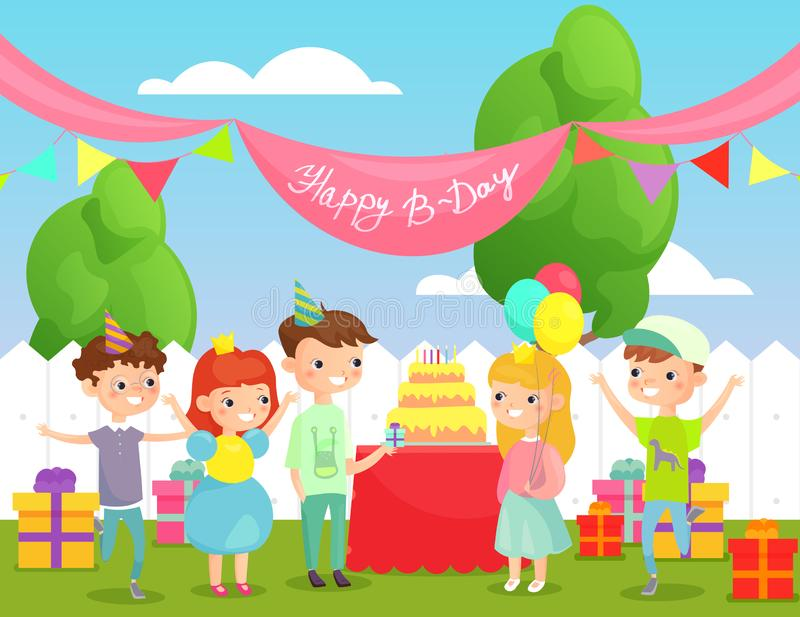 Vector illustration of kids birthday party on back yard background with funny friends, happy children company of boys vector illustration