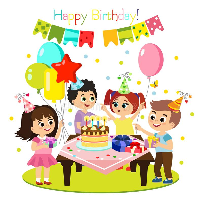 Vector illustration of kids birthday party, colorful and bright decoration, happy children have fun together, girls and stock illustration