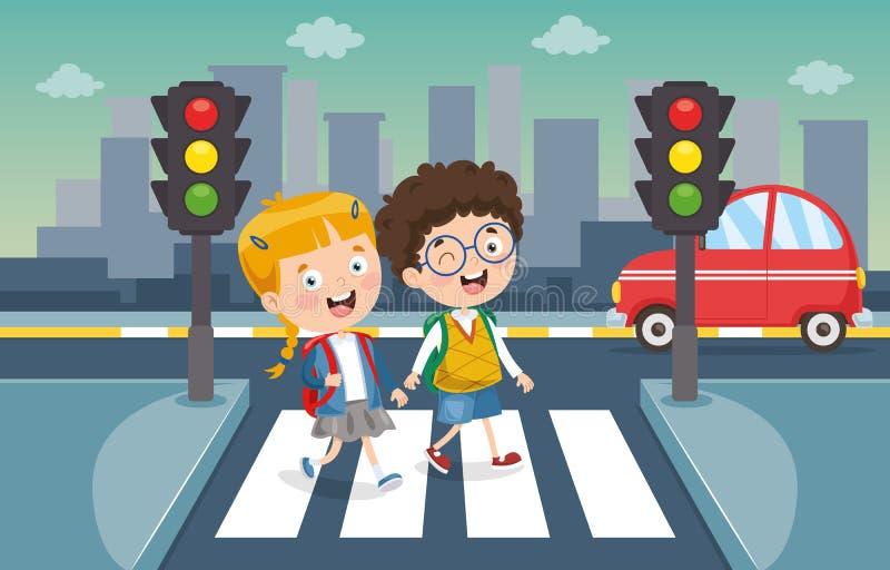 Vector Illustration Of Kids Crossing Traffic. Eps 10 vector illustration