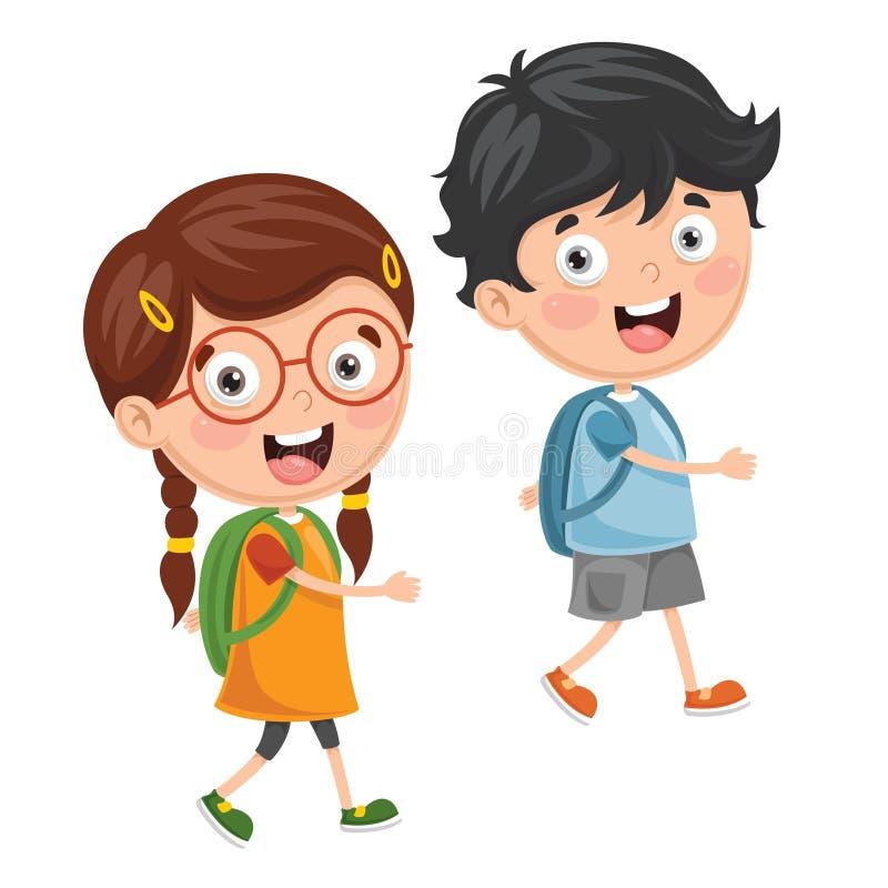 Vector Illustration Of Kids Going To School vector illustration