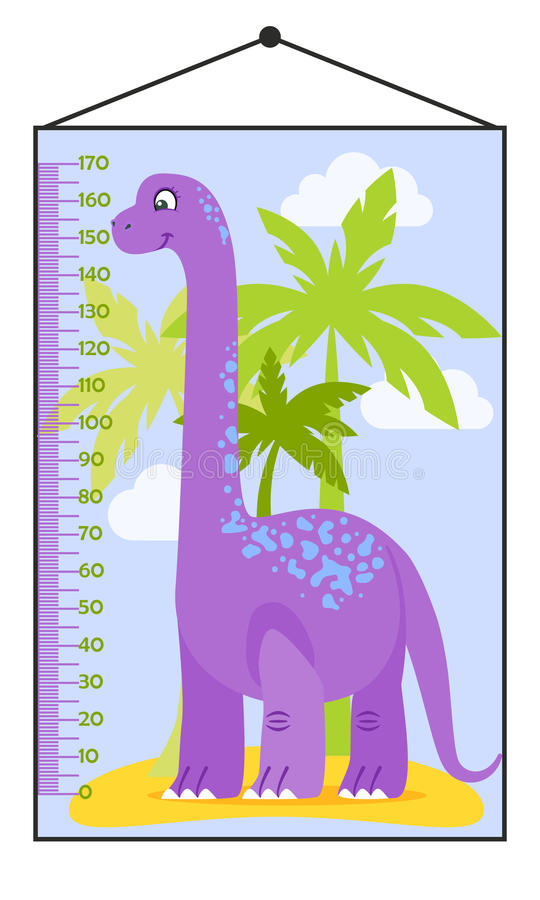 Vector illustration of kids height chart with cartoon dinosaur. Meter wall or baby scale of growth in flat style royalty free illustration