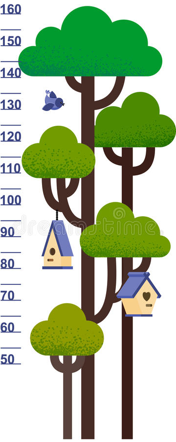 Vector illustration of kids height chart with tree and nesting box. stock illustration