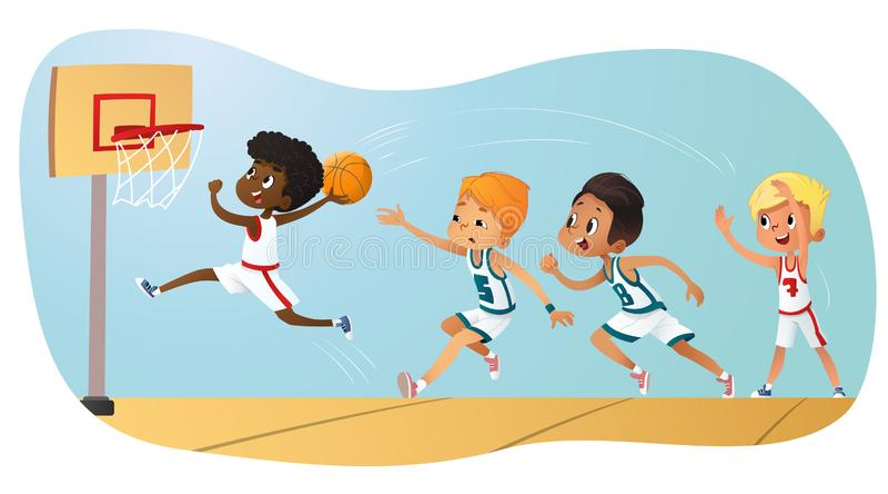 Vector Illustration Of Kids Playing Basketball. Team Playing Game. Team competition. Vector Illustration Of Kids Playing Basketball. Team Playing Game. Team vector illustration