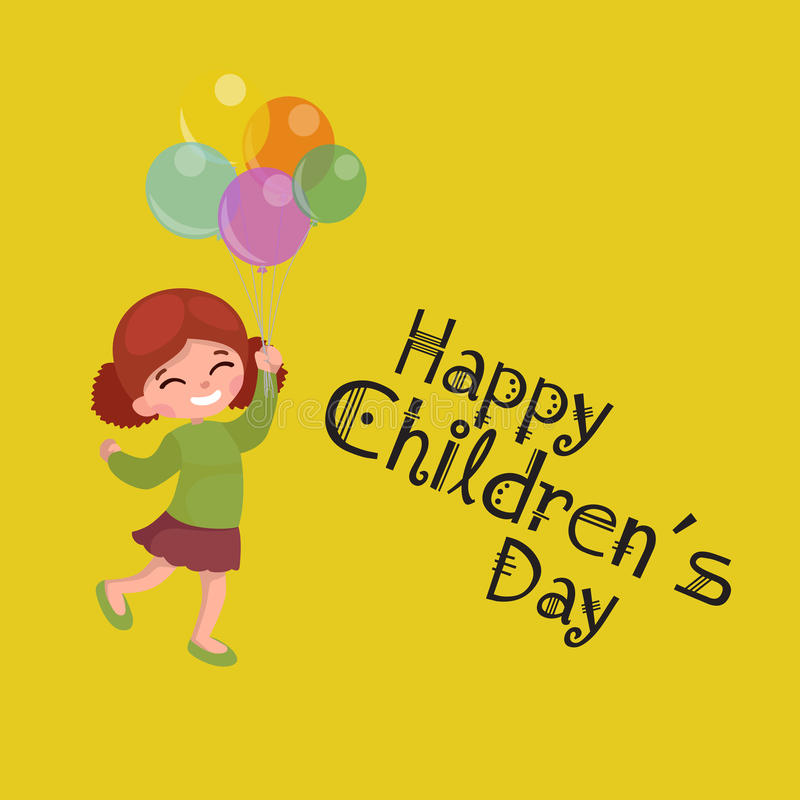 Vector illustration kids playing, greeting card happy childrens day background royalty free illustration