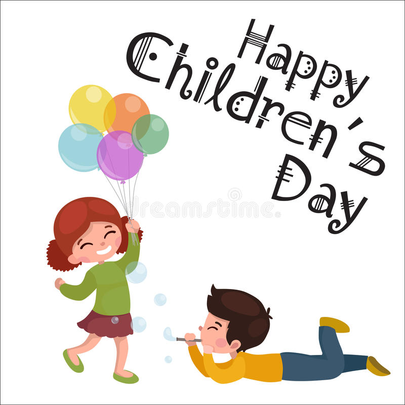 Vector illustration kids playing, greeting card happy childrens day background stock illustration