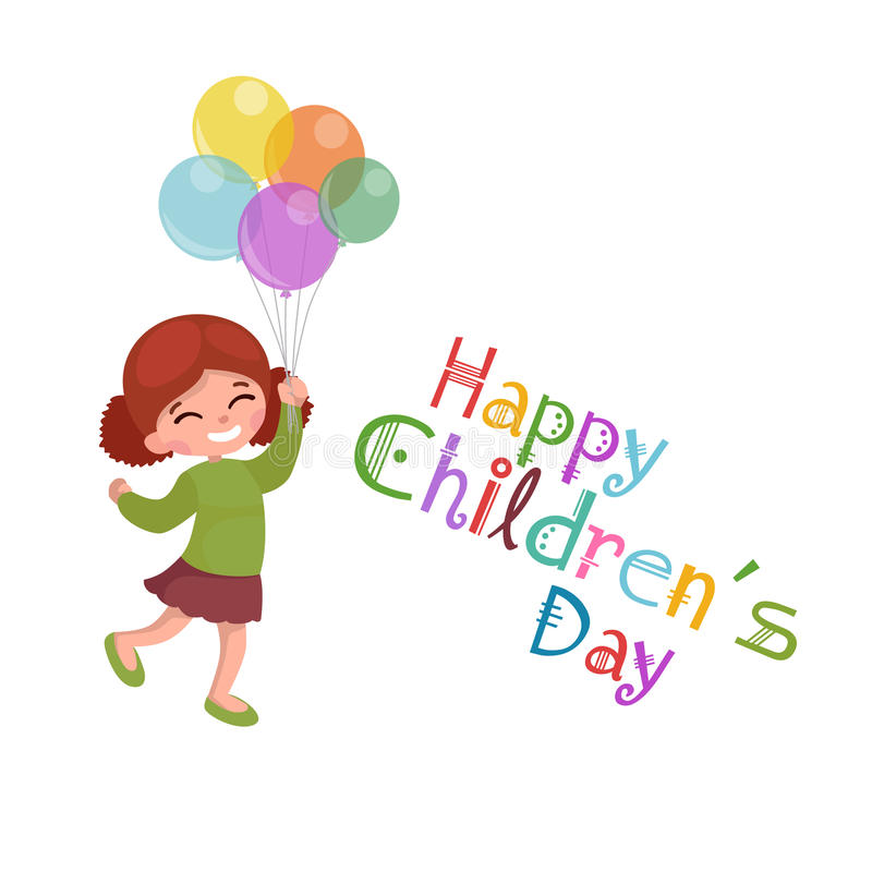 Vector illustration kids playing, greeting card happy childrens day background vector illustration