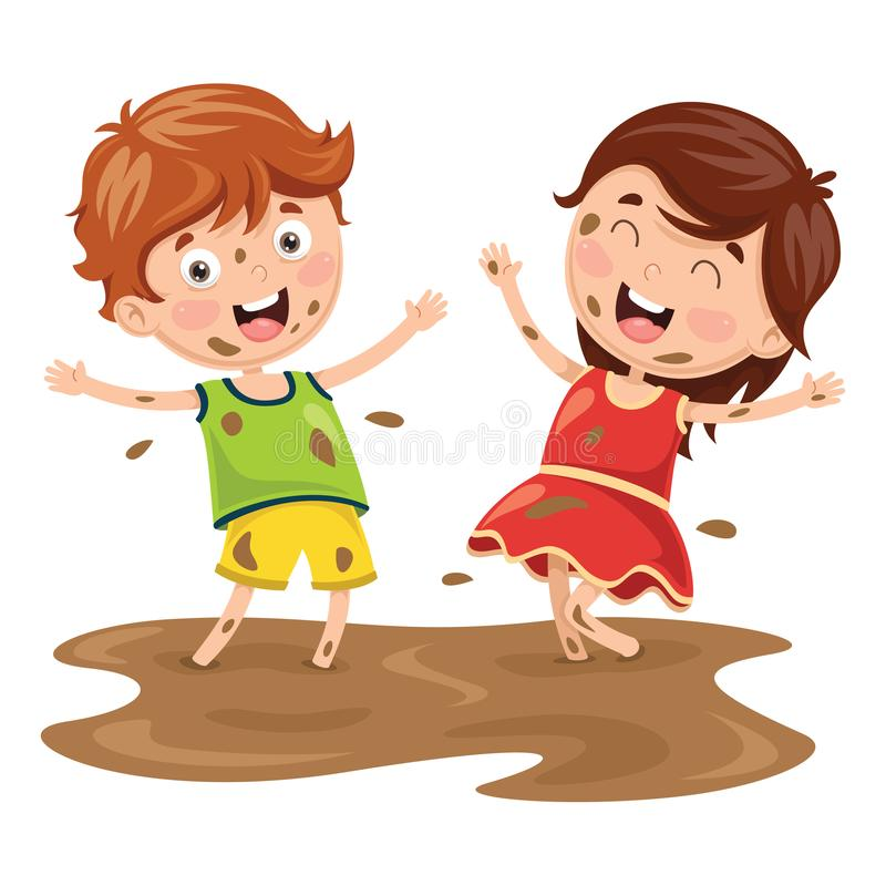 Vector Illustration Of Kids Playing In Mud. Eps 10 vector illustration