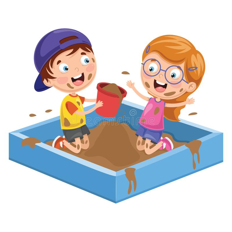 Vector Illustration Of Kids Playing In Mud. Eps 10 stock illustration