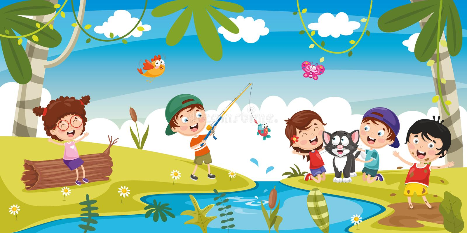 Vector Illustration Of Kids Playing Outside royalty free illustration