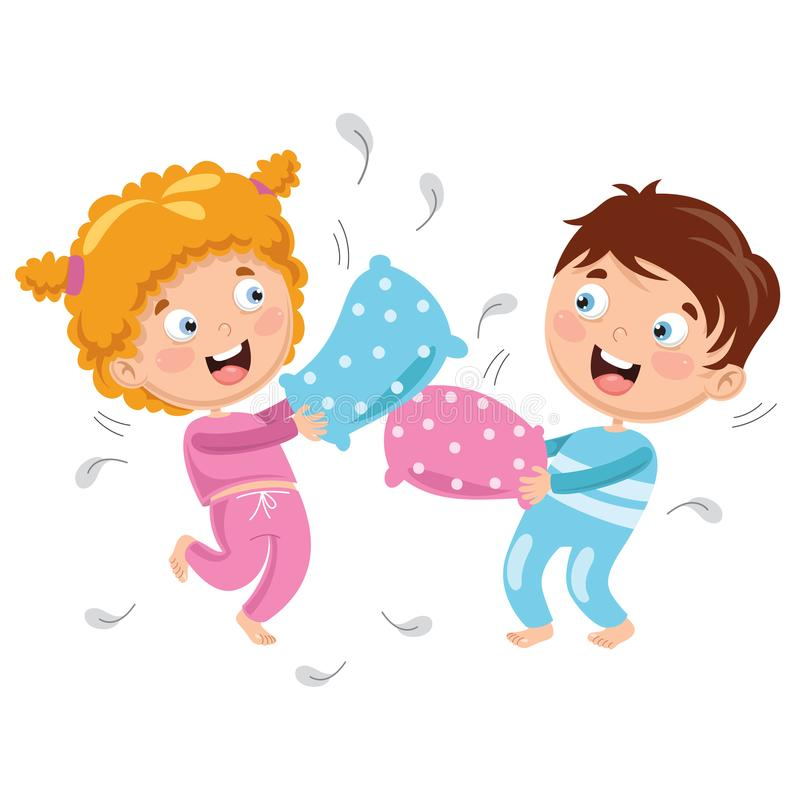 Vector Illustration Of Kids Playing Pillow Fight royalty free illustration