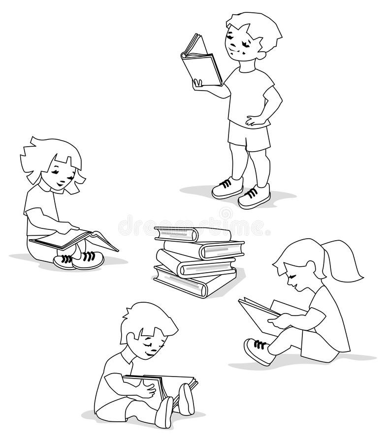 Vector illustration of kids reading on a huge pile of books. royalty free illustration