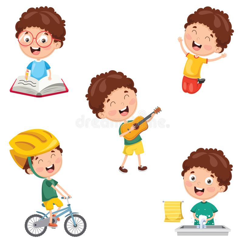 Vector Illustration Of Kids Daily Routine Activities. Eps 10 vector illustration