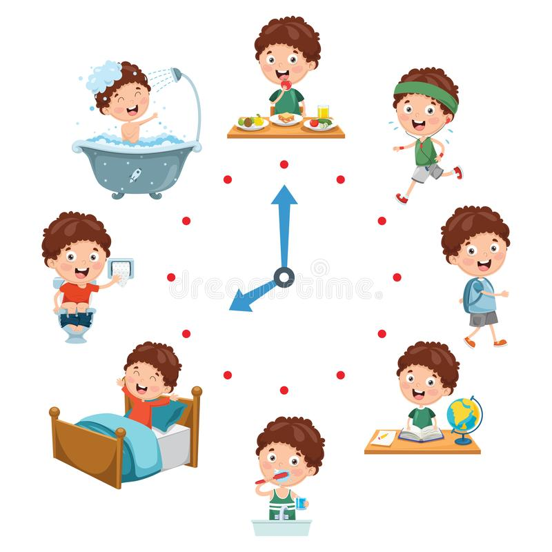 Vector Illustration Of Kids Daily Routine Activities. Eps 10 royalty free illustration