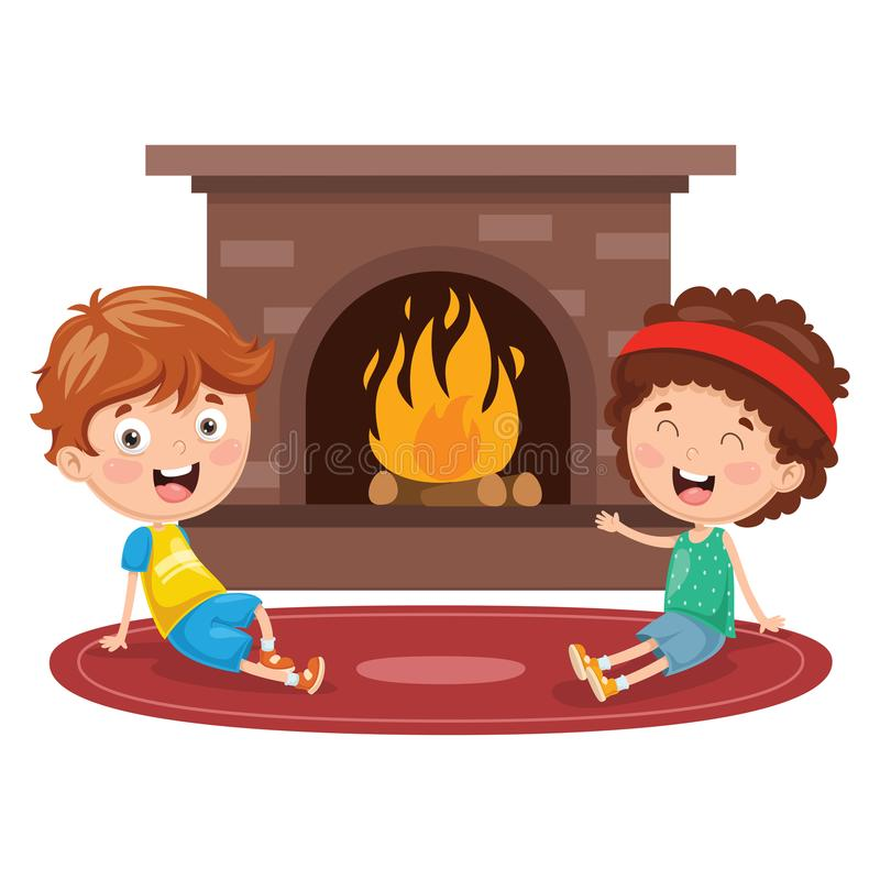 Vector Illustration Of Kids Sitting In Front Of Fireplace stock illustration