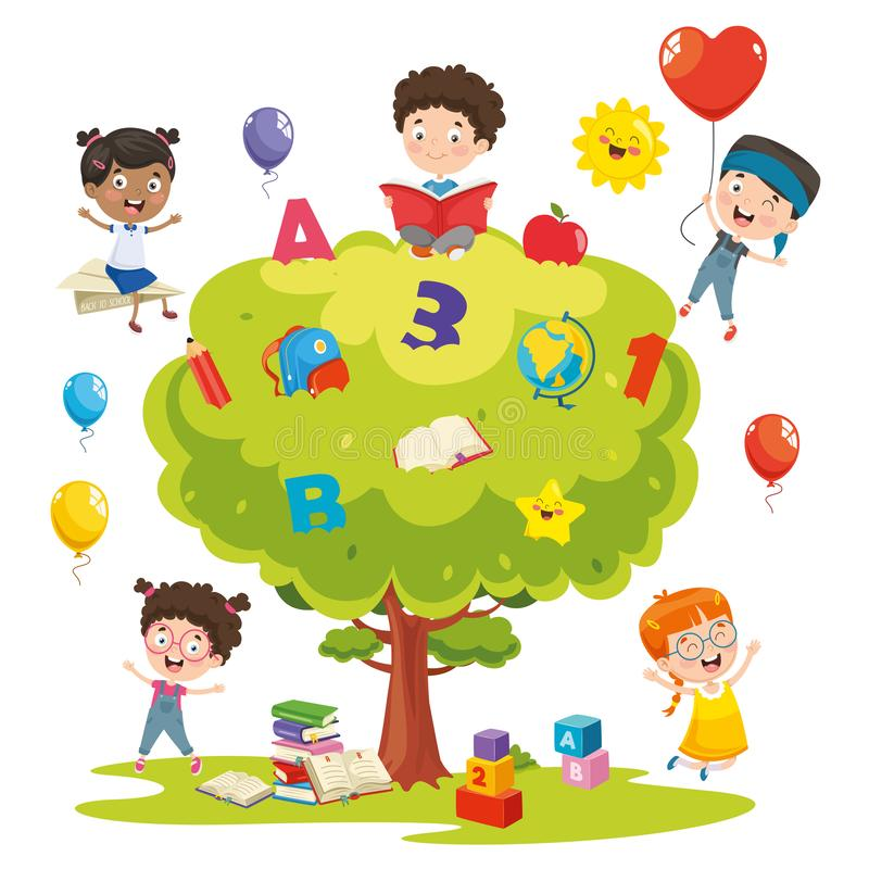 Vector Illustration Of Kids Studying On Tree stock illustration