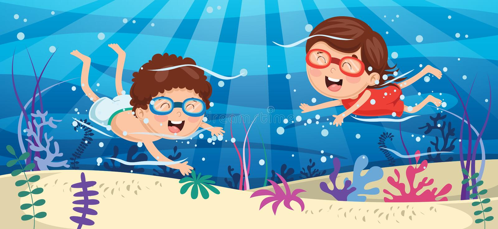 Vector Illustration Of Kids Swimming Underwater. Eps 10 royalty free illustration