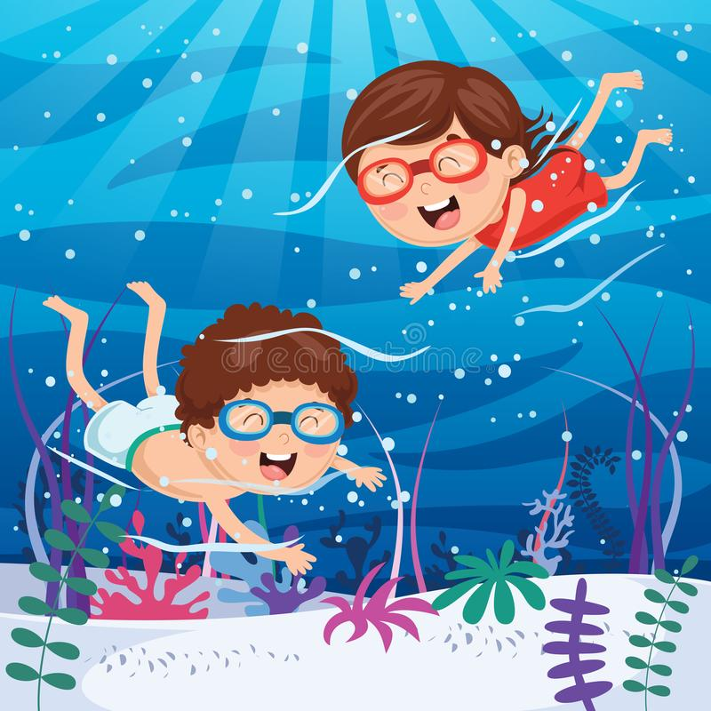Vector Illustration Of Kids Swimming Underwater. Eps 10 vector illustration