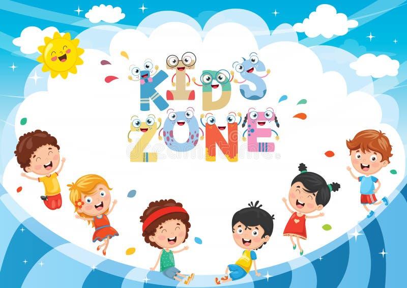 Vector Illustration Of Kids Zone Background Design stock illustration