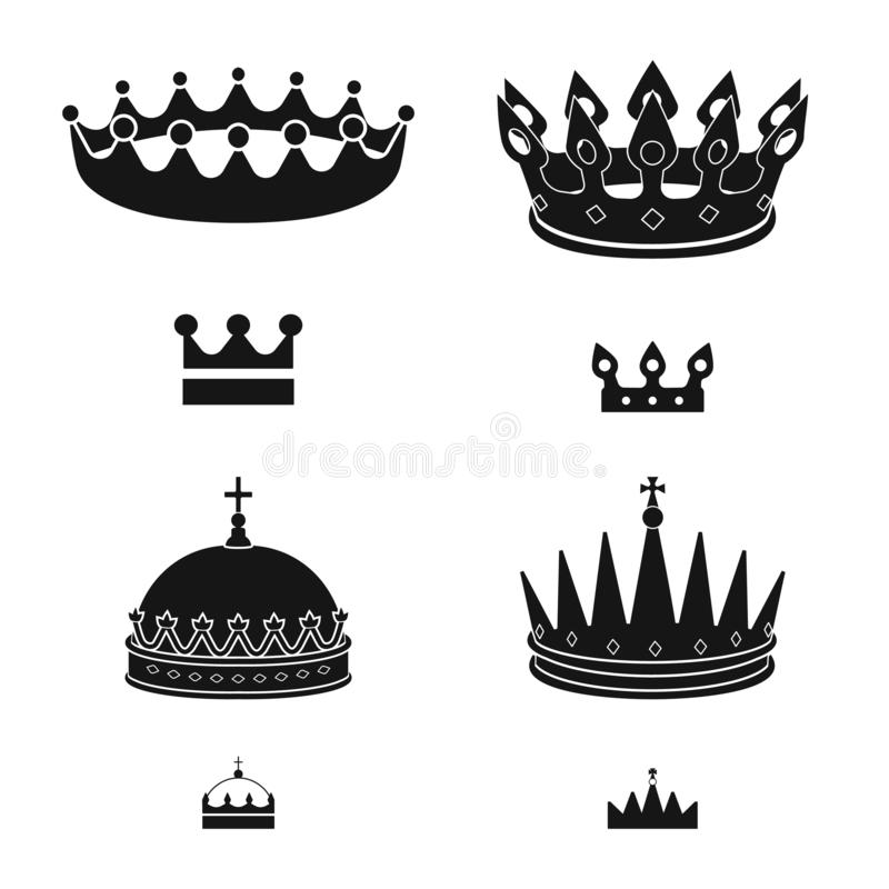 Vector illustration of king and majestic icon. Set of king and gold vector icon for stock. Isolated object of king and majestic symbol. Collection of king and stock illustration