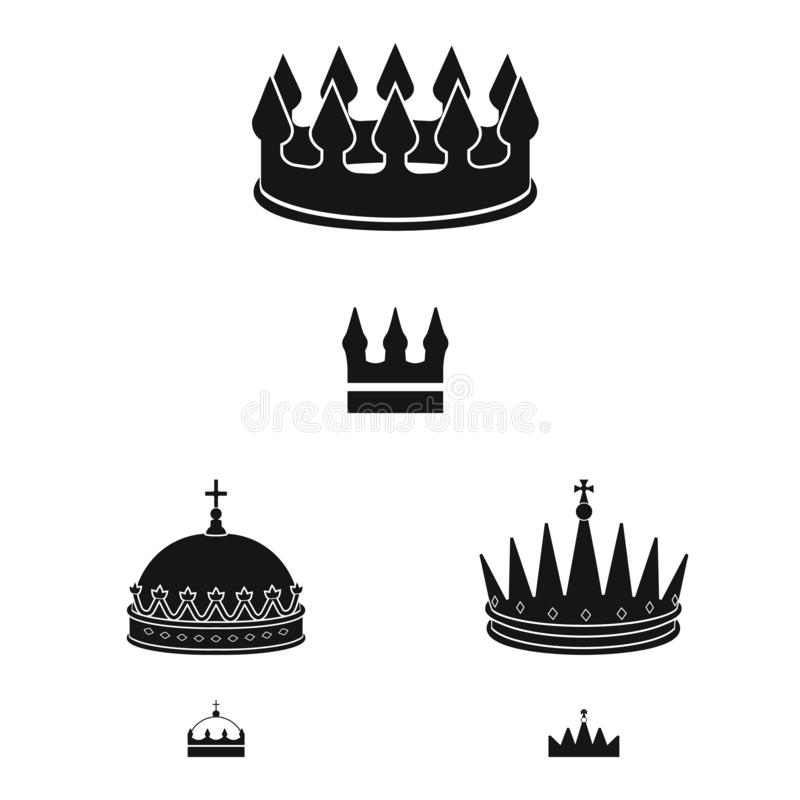 Vector illustration of king and majestic sign. Collection of king and gold vector icon for stock. Isolated object of king and majestic logo. Set of king and vector illustration