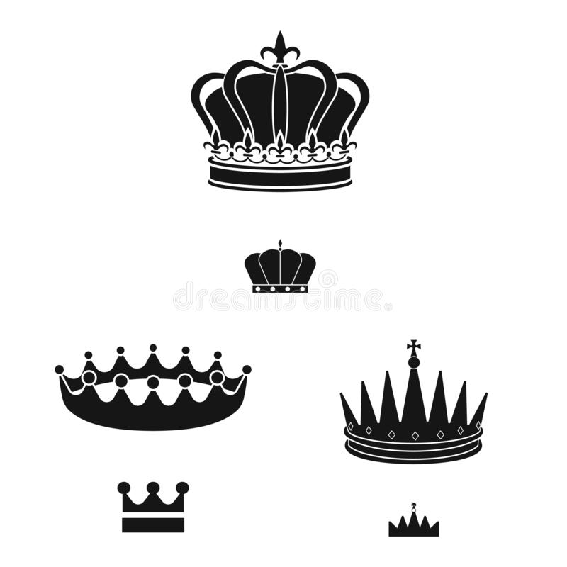 Vector illustration of king and majestic sign. Collection of king and gold stock symbol for web. Isolated object of king and majestic logo. Set of king and gold royalty free illustration