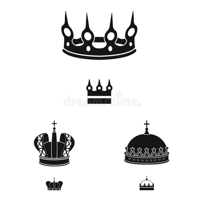 Vector design of king and majestic symbol. Collection of king and gold stock symbol for web. Vector illustration of king and majestic sign. Set of king and gold royalty free illustration