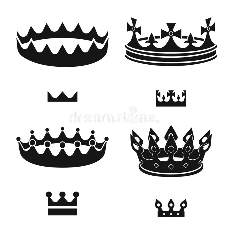 Vector design of king and majestic symbol. Collection of king and gold stock symbol for web. Vector illustration of king and majestic sign. Set of king and gold stock illustration
