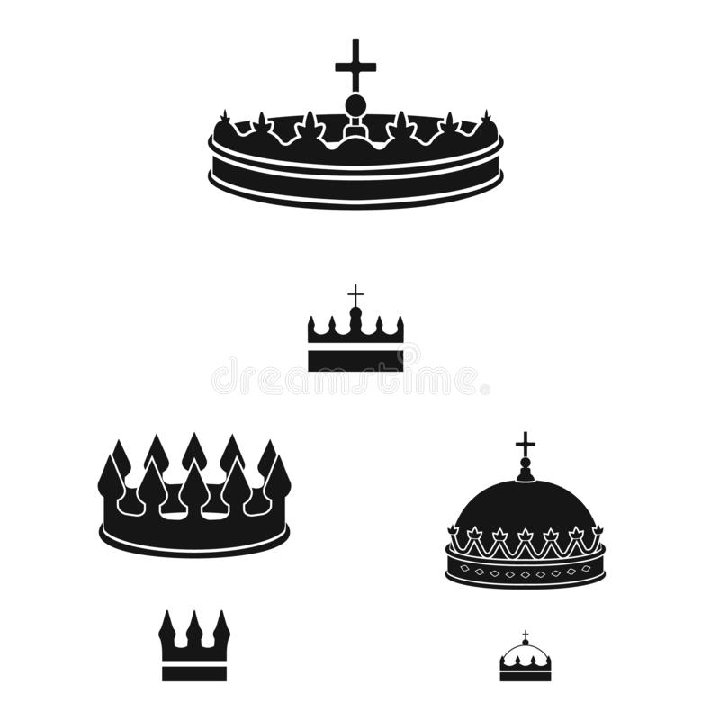 Vector design of king and majestic icon. Set of king and gold vector icon for stock. Vector illustration of king and majestic symbol. Collection of king and vector illustration