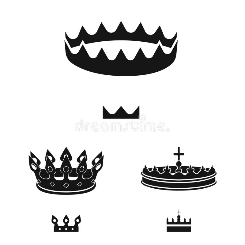 Vector design of king and majestic icon. Collection of king and gold stock symbol for web. Vector illustration of king and majestic symbol. Set of king and gold royalty free illustration
