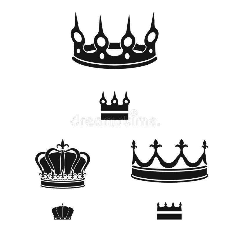Vector illustration of king and majestic symbol. Set of king and gold stock vector illustration. Isolated object of king and majestic sign. Collection of king vector illustration