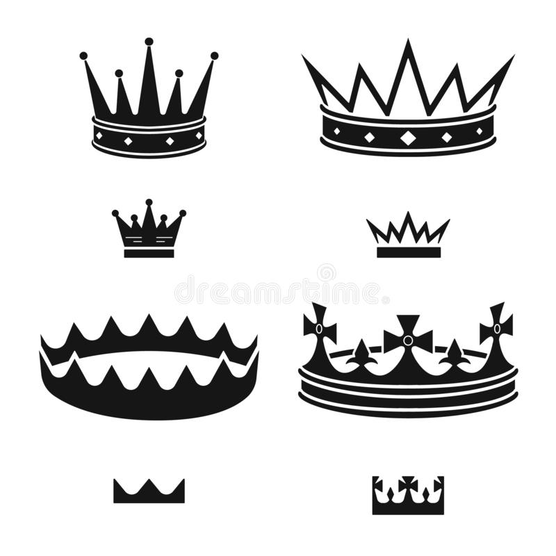 Vector illustration of king and majestic symbol. Set of king and gold stock symbol for web. Isolated object of king and majestic sign. Collection of king and royalty free illustration
