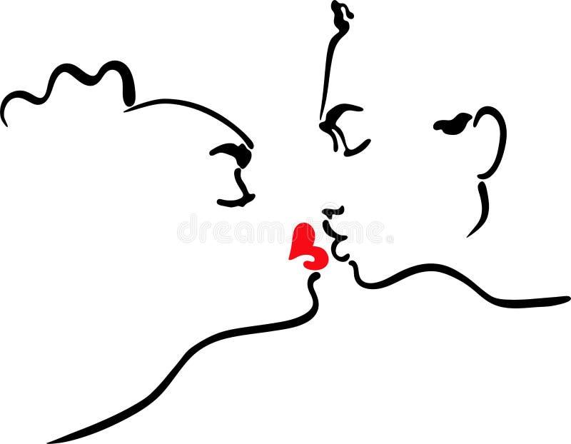 Vector illustration kissing men and women. Planimetric illustration kissing men and women vector illustration