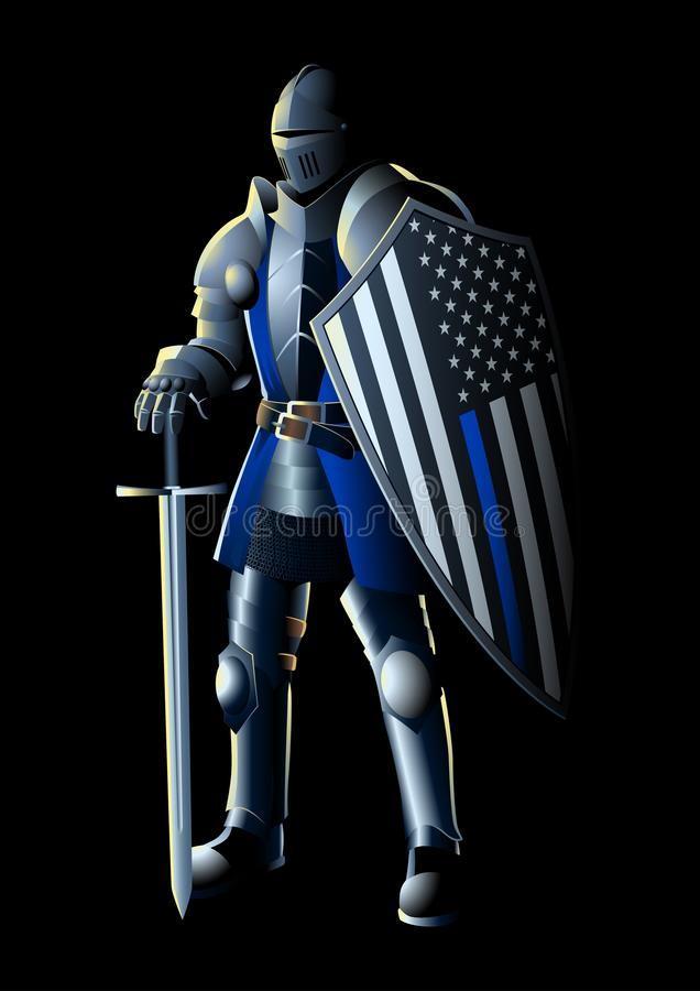 Thin Blue Line Knight royalty free illustration