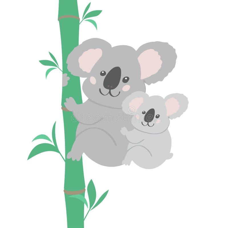 Vector illustration koala family. Vector illustration of cute bear koala family. Small koala sitting on his mother neck. Print for tshirt, baby textile royalty free illustration